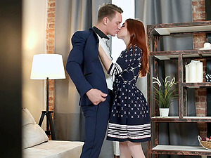 Redhead girl Renata Fox loves all different sex poses with her friend