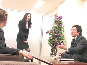 Irresistible cutie Ai Mizushima craves for more than one penis in her mouth
