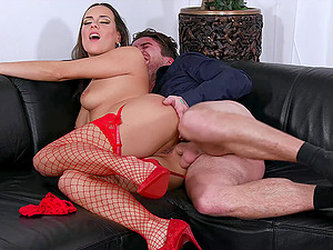 Mea Melone masturbates alone on the couch before her friend fucks her from behind