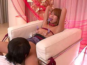 Naked Miku Natsukawa lets masked guys satisfy h