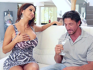 Ava Addams shows her big tits to a friend before hard sex on the bed