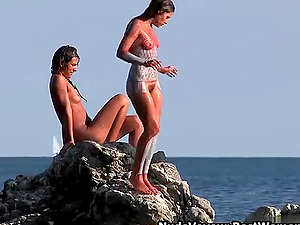 Delicious Girls Enjoy Body Painting At Nudist Beach