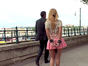 Cute amateur Isabella Clark tied up and fucked in the public place