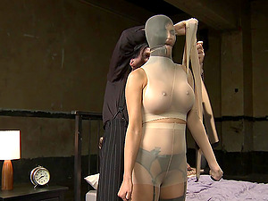 Younger wife Jasmine Jae wrapped up in nylon and fucked from behind