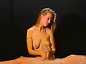 What started as a sensual massage from this amateur blonde cutie quickly turned into a lubed up handjob!