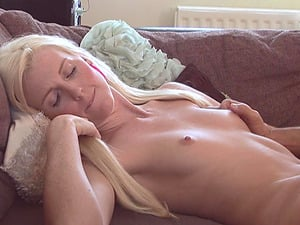 skinny blonde Lexi Lou  jumping on a strudly and long friend's penis