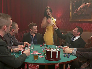 Five guys end a poker match with a massive gangbang double penetration