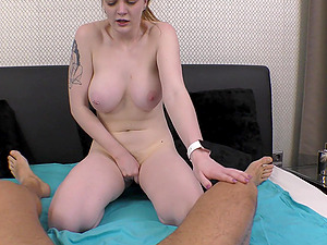 cute blonde Carly Rae Summers jumping on a strong friend's penis