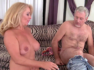 mature blonde Crystal Taylor riding her friend's cock after a blowjob