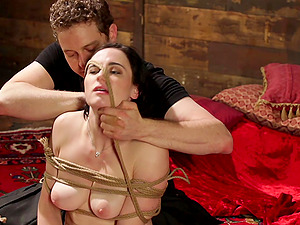 Tied brunette Tifereth is ready for amaizng BDSM with her friend