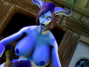 Sexy short green gnome from Warcraft gets pussy drilled by big long dick futanari slut