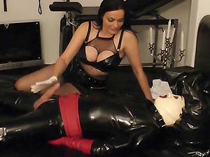 German femdom bdsm milf handjob for slave