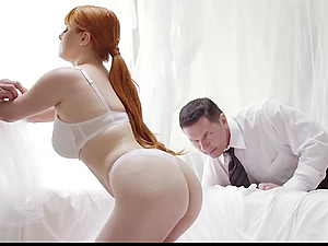 Curvy redhead wife Penny Pax shared by her husband and his boss