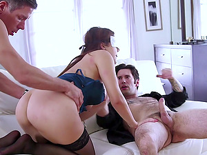 Blindfolded wife surprised by two hard dicks in her tight mouth