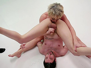 Adorable blonde Dee Williams uses a strapon to fuck her horny friend