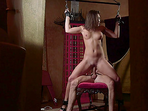 Innocent babe Abella Danger tied up and fucked while standing