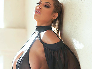 stunning Bridgette B. adores interracial threesome and cum in mouth