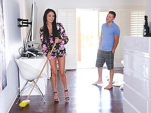 hot Anissa Kate adores doggy style after a blowjob on the floor