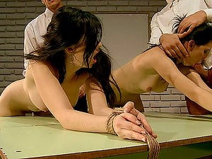 Two Brunettes Tied Up & Made To Open Their Bum Cheeks