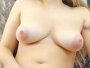 Horny blonde girlfriend has big orgasm by lovense toy