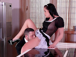 sexy maid Dolly Diore enjoys hard sex with her handsome boss