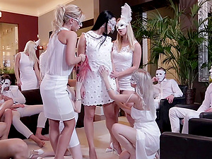 Costumed Violette Pure has amazing fucking skills and likes group fuck