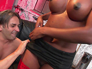 Nasty Ebony Starr screams from pleasure while her friend fucks her