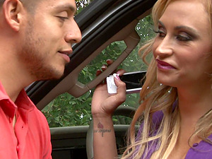Blonde mature Claudia Valentine adores to fuck with young stranger
