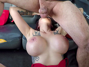 Busty Alexxa Vice jumps on a strangers's strong boner in the taxi