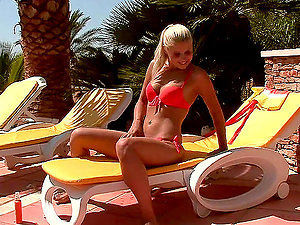 Poolside Onanism with Stunning Blonde Brandy Smile