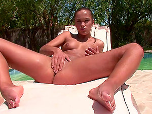Sweet Little Victoria Fingerblasting Her Bald Cunt by the Pool