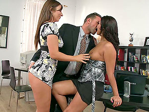 Rough Threesome With The Manager, Cipriana And Debbie