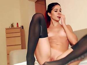 Cute babe having fun masturbating her vagina on cam