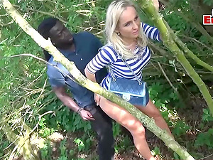 german threesome teen with bbc outdoor