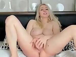 Blonde slut loves pleasuring her pussy with a vibrator