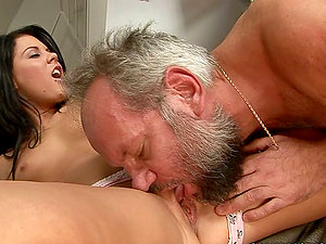 Brown-haired Beauty Digging Her Nasty Old Neighbor