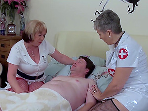 Horny nurses enjoying hardcore sexual intercourse with blowjob and cum