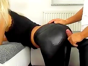 A beautiful German girl fucked by a stranger guy in leggings and high heels