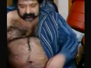 Big hairy bear and hairy body stretch tight ass
