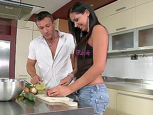 Cooking breakfast together converts into hard banging in the kitchen