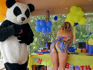Dude dressed as a Panda bear fucks blonde pornstar Cory Chase