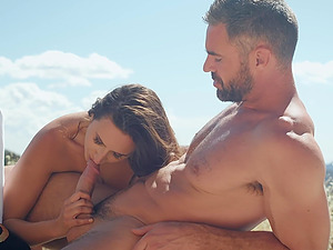 Motorcycle ride in the mountains ends with a cumshot on Ashley Adams