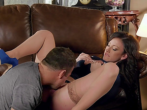 Amazing looking wife Jennifer White rides her husbands big dick