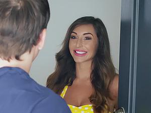 Girlfriend Tiffany Watson surprises her BF with Christiana Cinn