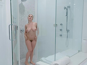 During the shower Lena Paul gets her pussy banged by her lover
