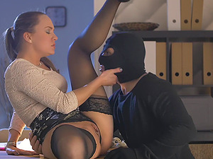 Big ass Blue Angel gets fucked in a lot of positions and gets a facial