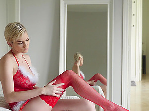 Stunning Skye Blue wears sexy red lingerie for fucking without mercy