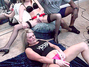 Amateur brunette MILF getting licked by Heather C Payne in live swinger event