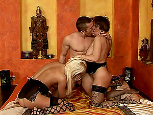 Bisexual grandma gets naked with a sexy stunner and her man