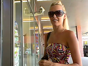 Nice blonde Sophie Moone goes for a walk and does shopping